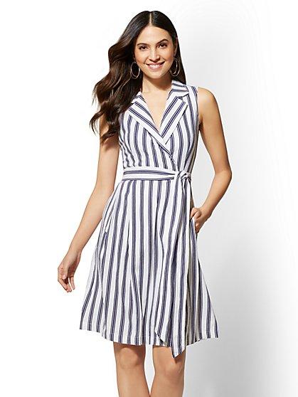 Striped Linen Wrap Shirtdress - New York & Company