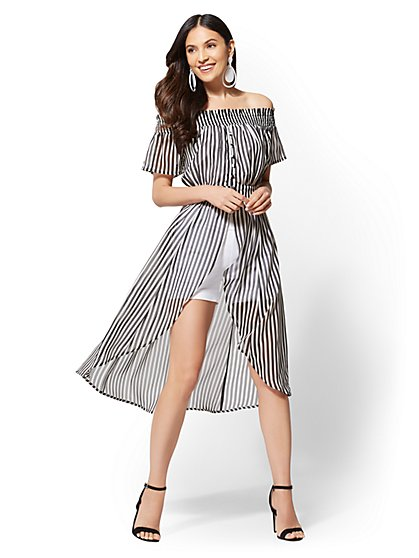 Striped Off-The-Shoulder Topper - New York & Company