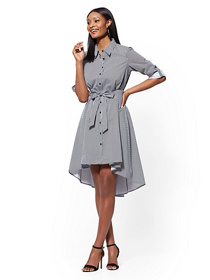 Striped Poplin Fit and Flare Shirtdress - New York & Company