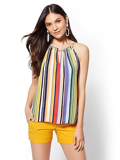 Striped Ruffled Halter Blouse - New York & Company