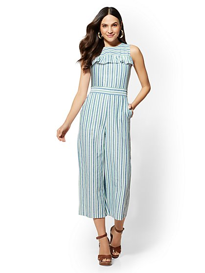Striped Ruffled Jumpsuit - New York & Company