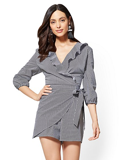 Striped Ruffled Wrap Romper - New York & Company