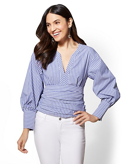 Striped Statement-Sleeve Poplin V-Neck Blouse - New York & Company