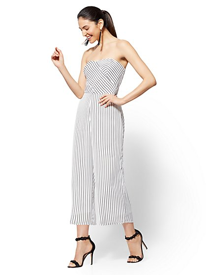 Striped Strapless Culotte Jumpsuit - New York & Company