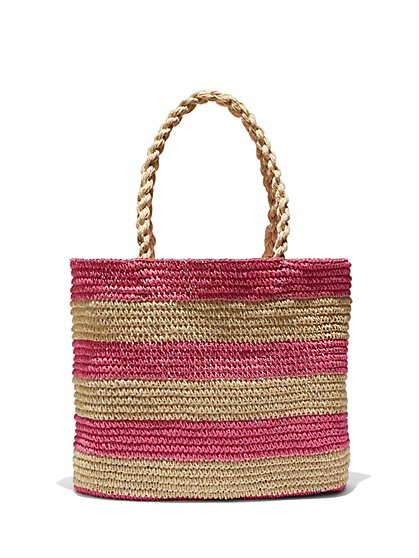 Striped Straw Tote Bag - New York & Company