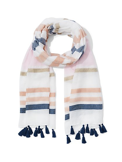 Striped Tassel Scarf - New York & Company