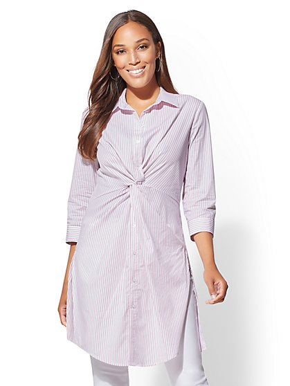 Striped Twist-Front Poplin Tunic Shirt - New York & Company