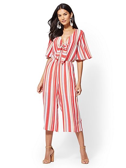 Striped V-Neck Culotte Jumpsuit - New York & Company