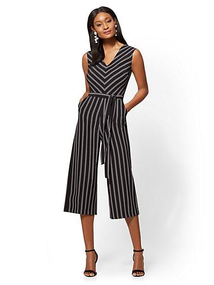 Striped V-Neck Culotte Jumpsuit - New York & Company