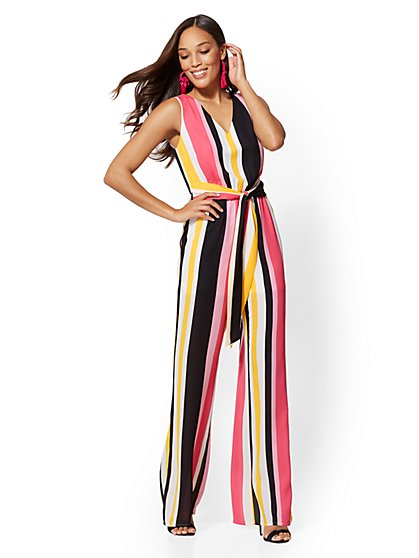 Striped V-Neck Jumpsuit - New York & Company