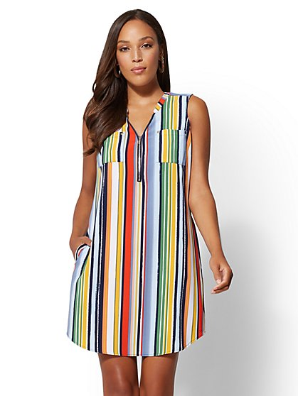 Striped V-Neck Zip-Front Shift Dress - New York & Company