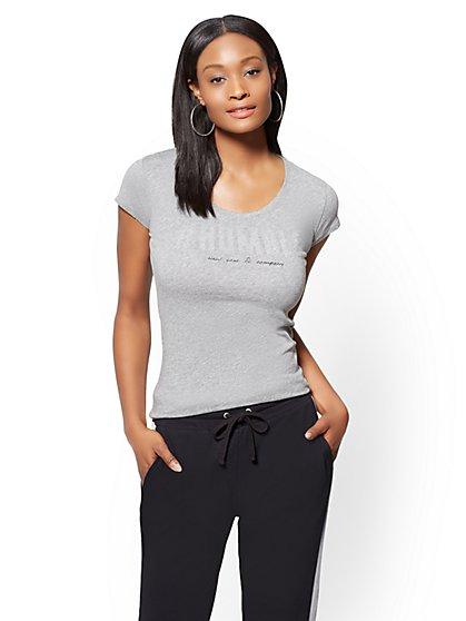 "Studded ""#Humble"" Graphic Logo Tee - New York & Company"