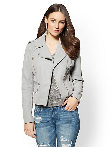Sueded Faux-Leather Moto Jacket - New York & Company