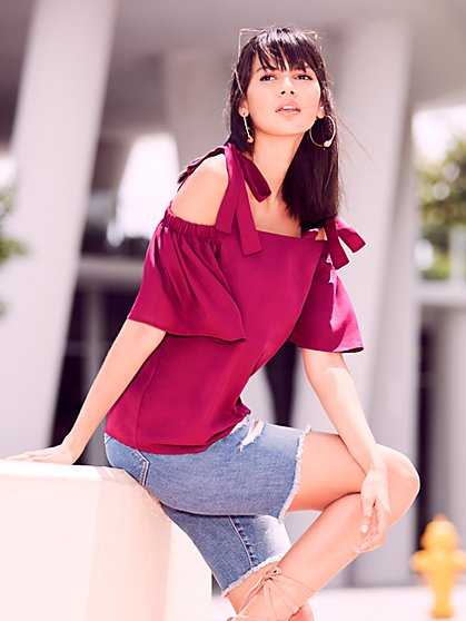 Sweet Pea - Berry Cold-Shoulder Blouse - New York & Company