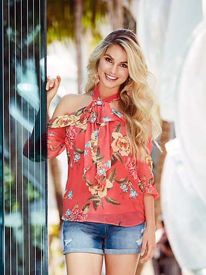 Sweet Pea - Floral Cold-Shoulder Halter Blouse - New York & Company