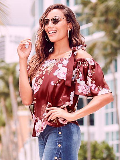 Sweet Pea - Floral Off-The-Shoulder Blouse - New York & Company