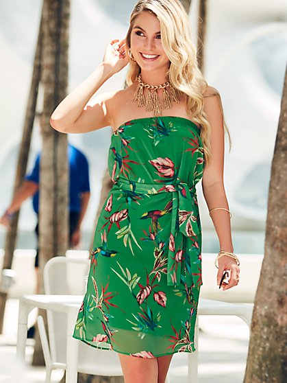 Sweet Pea - Green Print Strapless Dress - New York & Company