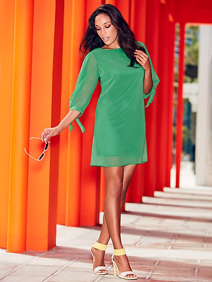 Sweet Pea - Green Tie-Detail Shift Dress - New York & Company