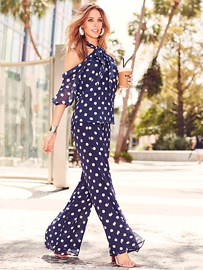 Sweet Pea - Navy Dot Palazzo Pant - New York & Company