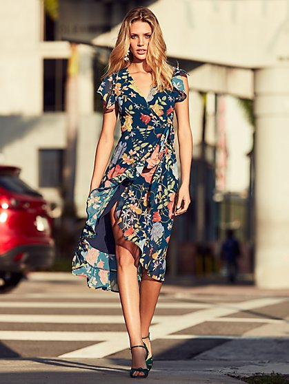 Sweet Pea - Navy Floral Wrap Dress - New York & Company