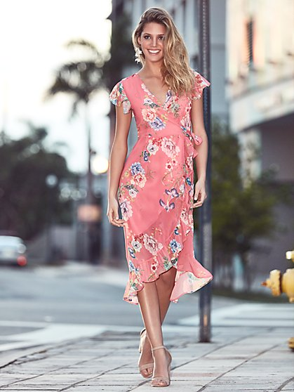 Sweet Pea - Pink Floral Wrap Dress - New York & Company