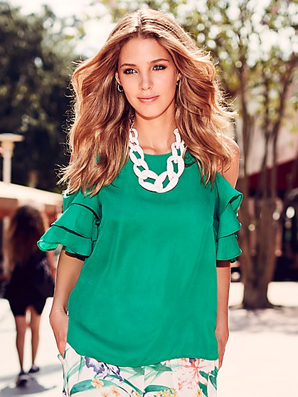 Sweet Pea - Tiered-Sleeve Cold-Shoulder Blouse - New York & Company