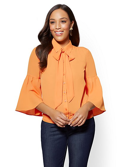 Tall Banded-Hem Bow-Accent Blouse - New York & Company