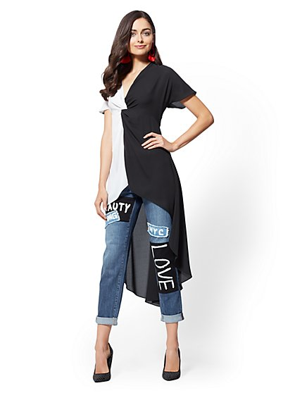 Tall Black & White Hi-Lo Twist-Front Shirt - New York & Company