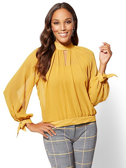 Tall Gold Mock-Neck Tie-Sleeve Blouse - New York & Company
