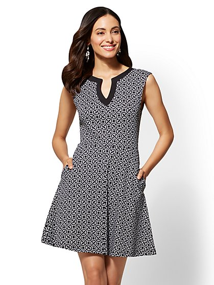 Tall Gwen Printed Fit and Flare Cotton Dress - New York & Company
