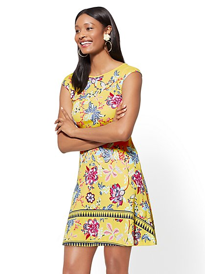 Tall Printed Cotton Fit and Flare Dress - New York & Company