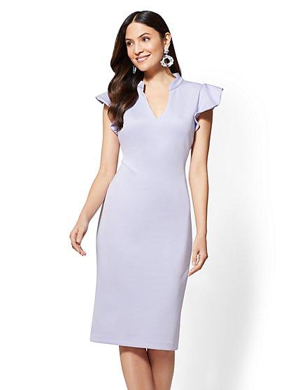 Tall Ruffled-Sleeve Sheath Dress - New York & Company