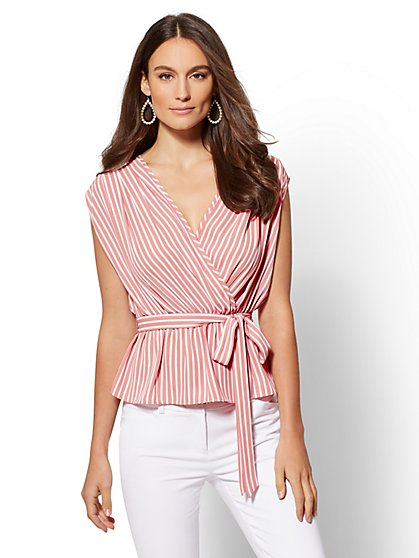 Tall Stripe Tie-Front Wrap Blouse - New York & Company