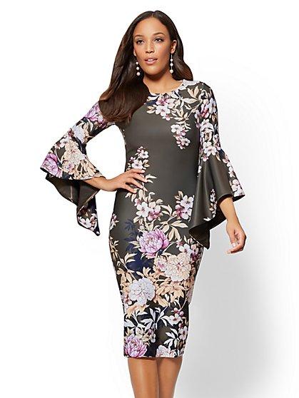 Tall Tiered-Sleeve Sheath Dress - Floral - New York & Company