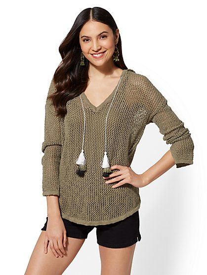 Tassel-Accent Hooded Sweater - New York & Company