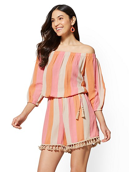 Tassel-Accent Stripe Romper - New York & Company