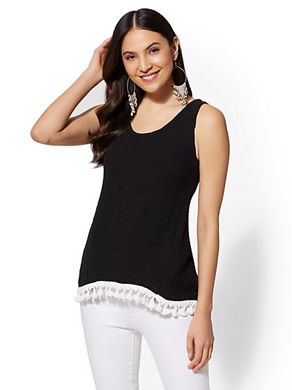 Tassel-Trim Cotton Knit Tank Top - New York & Company