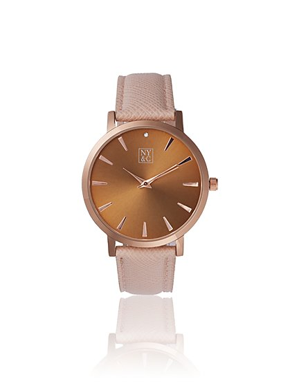 Taupe Faux-Leather Band Watch - New York & Company