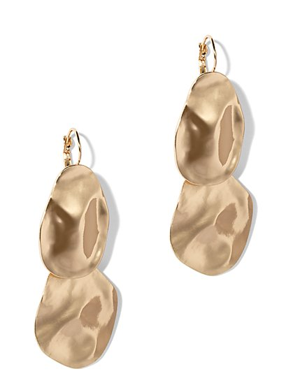 Textured Goldtone Drop Earring - New York & Company