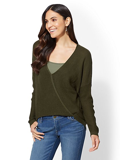 Textured Wrap Sweater - New York & Company