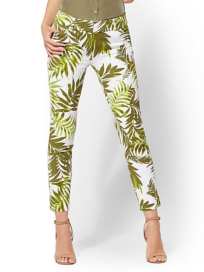 The Audrey Ankle Pant - Green Palm Print - New York & Company