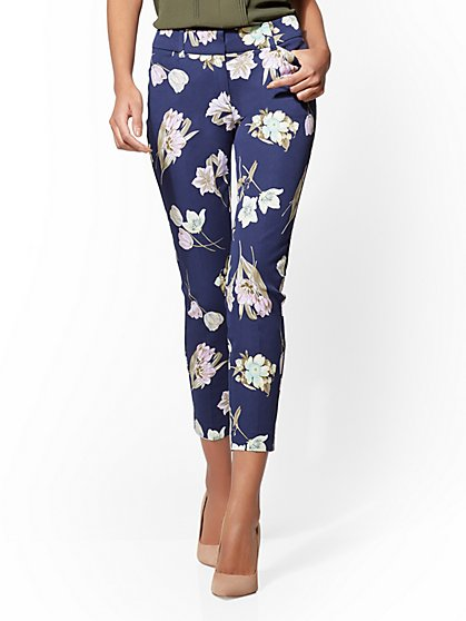 The Audrey Pant - Curvy - Navy - Floral - New York & Company