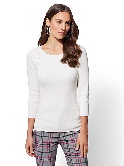 The Emma Lace-Up Sweater - New York & Company