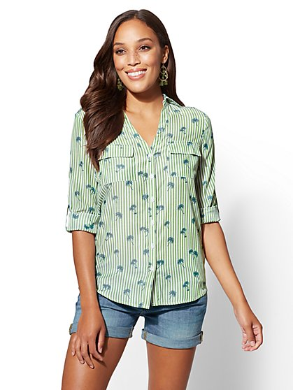 The Kate Shirt - Green Palm Print - New York & Company