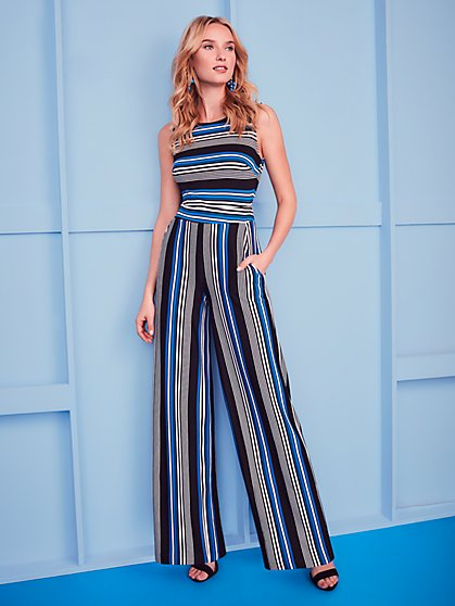 Tie-Back Jumpsuit - Stripe - New York & Company