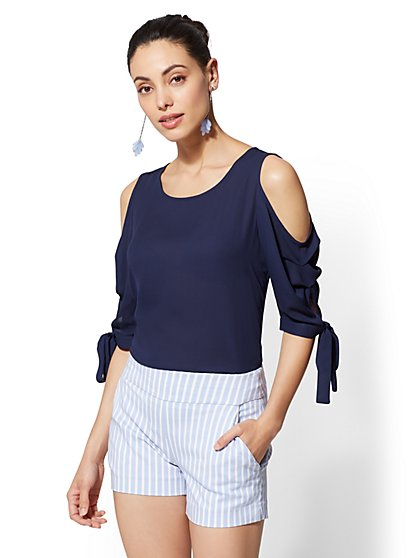 Tie-Detail Cold-Shoulder Blouse - New York & Company