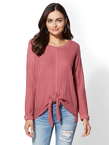 Tie-Front Ribbed-Knit Sweater - New York & Company