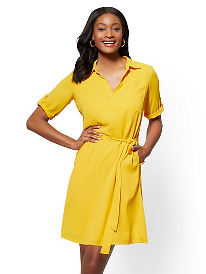 Tie-Front Shirt Dress - New York & Company