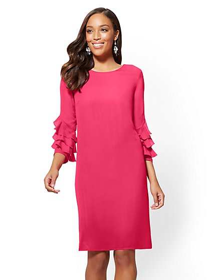 Tiered Ruffle-Sleeve Shift Dress - New York & Company