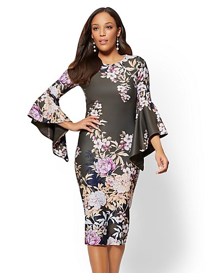 Tiered-Sleeve Sheath Dress - Floral - New York & Company